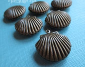 3X - antiqued bronze brass scallop seashell locket pendants