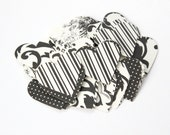 Elegant Heart Die Cuts - Black White Floral Polka Dot - Toile Design Table Decor