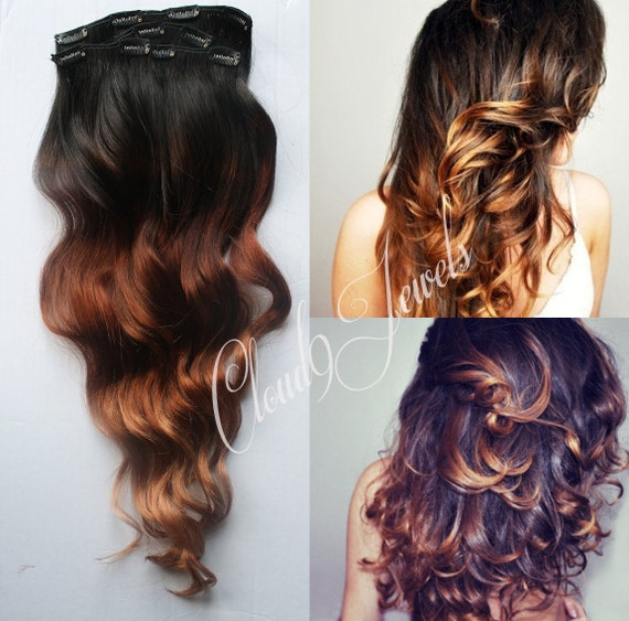 Clip in Extensions For Natural Black Hair Clip in Natural Ombre Hair