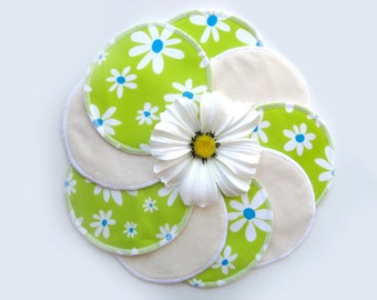 Nursing pads - Green with flowers - Organic Bamboo Velour and PUL - Ready to ship
