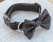 Dog Collar or Martingale - Black with Gray Polka Dots - Matching Bow Tie, Flower, and Leash Available