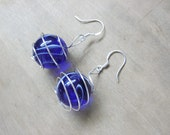 Royal Blue Swirls Wire Wrapped Marble Earrings