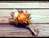 Pin Corsage - Orange Cream Yellow - Wedding - Keepsake - Natural Dried Flowers - Rustic Fall - Mother - PRAIRIE SUNSET COLLECTION