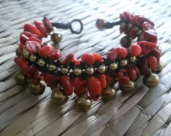 Red coral nugget woven dark brown waxed cord/brass jingle bells bracelet/christmas collection/Red bracelet/red coral bracelet/bells bracelet