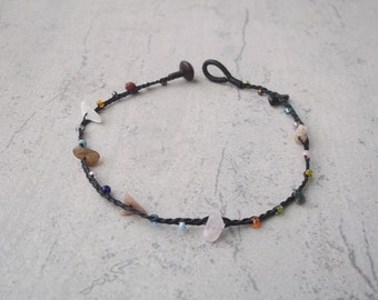 Cool Multicolor stone knot Anklet  handmade jewelry  from Thailand  by Nannapatt/Summer Anklet/Sea Sand Sun/Bikini/Party/Pool/on the beach