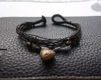 heart gypsy knot beads/bells wraps bracelet  Thailand handmade jewelry on summer gift new collection/handmade bracelet/Hawaii bracelet/charm