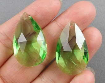 Faceted-Spring green Austrian Crystal Earring beads,9g, 25mmx15mm