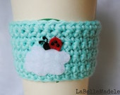 Cup Cozy Ladybug on a Cloud, coffee cup, reusable sleeve, eco, cosy, gifts for her, mariquita, ladybird, gift, crochet