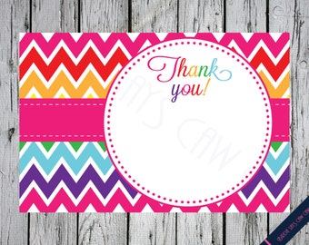 INSTANT DOWNLOAD**  Rainbow Chevron Thank You Card