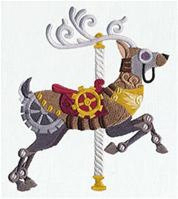 Steampunk Carousel Deer Embroidered Flour Sack Hand/Dish Towel by EmbroideryEverywhere steampunk buy now online