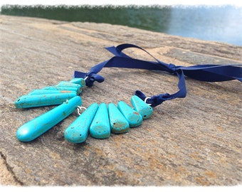 Turquoise necklace sticks necklace. Blue and navy.
