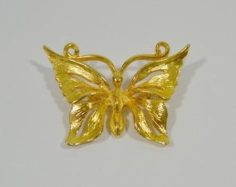 1970s Large Shiny Gold Tone Morpho Butterfly Brooch, Pin Signed SMI