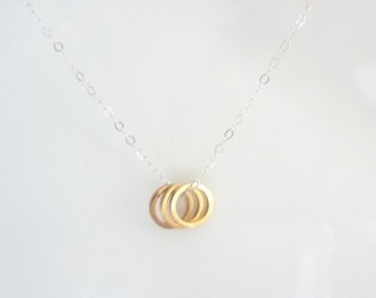 Gold Three Circle Necklace, Infinity, Eternity, 3, Gold Brass, Sterling Silver, Charms, Weddings, Handmade Jewelry, Jewellery