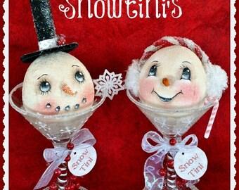 Snowman Pattern, cloth doll pattern, Holiday snowman, pdf instant download pattern, sewing pattern, Digital download pattern, snowtini