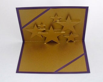 SHINING STARS 3D Pop-Up Card Origamic Architecture Handmade Hand cut in Metallic Shimmery Gold and Metallic Shimmery Purple  One Of A Kind
