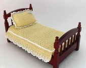 1:12 Single Bedspread and Pillow Hand Crocheted Yellow Fitted Bedspread White and Blue Trim Dollhouse Miniatures Artisan Miniaturejoy