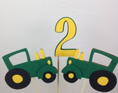 3 Piece Tractor Table Decoration Table Centerpiece Green and Yellow John Deere Inspired Farm and Barnyard Table Decoration