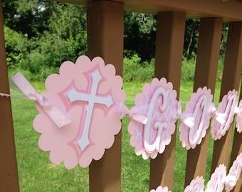 God Bless Banner Baptism Christening Banner Pinks Includes Name