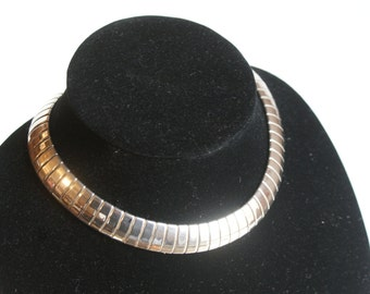 Silver Plated Choker Necklace. Liquid Silver Design. Stunning Comfort. Fishscale Design.