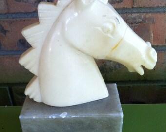 Alabaster horse head statue
