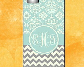 Monogram iPhone 4/4S - 5/5S - 5C - 6 Case - Grey Chevron and Blue Damask -  Plastic, Rubber, Tough Case
