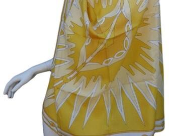 PUCCI 60s Yellow Crepe de Chine Silk Scarf