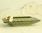 1960's Planter in Blue and Green - Mid Century Home Decor - Vintage Green Flower Pot
