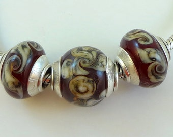 Lampwork Bead Set Big Hole Bead - ' Burgandy Twist'