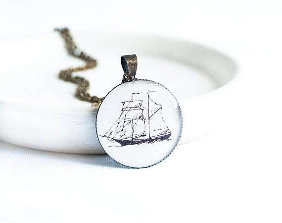 Nautical necklace, naval jewelry, ship necklace, marine jewelry