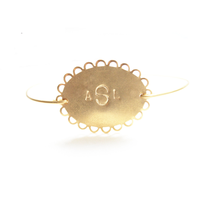 Personalized Bracelet, Monogram Oval Lace Bracelet, Custom Initial Bangle, Brass, Gold, Custom Initial Jewelry, Personalized Jewelry