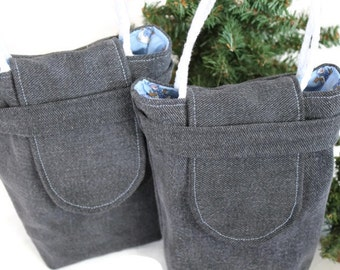 Snowman Gift Bags Reusable Upcycled Black Denim Christmas Sky Blue Silver Gray Periwinkle Winter Holiday(Set of 2)--US Shipping Included