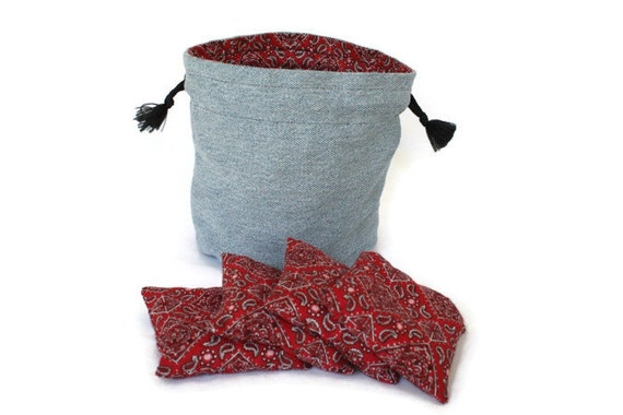 Bucket Bag Denim & Red Bandana with four matching Bean Bags Upcycled Blue Jeans Toss Game Kids Toy Homeschool - US Shipping Included