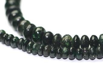 Emerald Smooth Rondelles 15 Green Dark Forest Green Precious Gemstone
