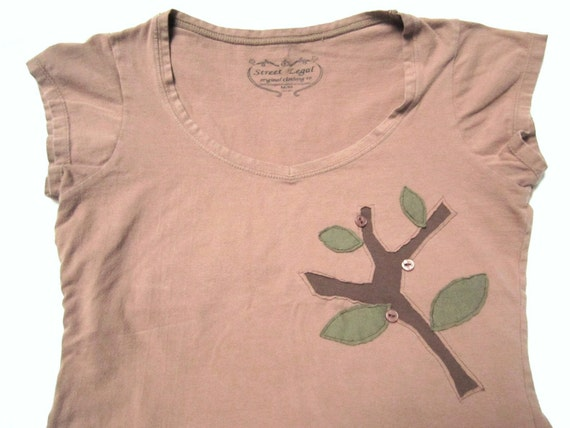 Tree Branch Applique T-shirt - Upcycled with Flower Buttons - Mocha Latte Brown - Women's Medium