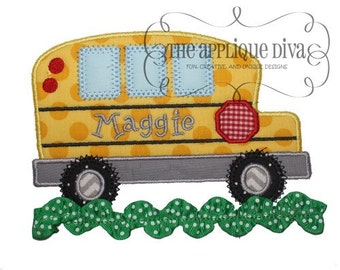 Back to School  Simple Bus Embroidery Design Machine Applique