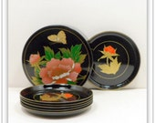 Sale Lacquer Coaster Set 7 Piece Asahi Japan Hand Painted Oriental Barware Vintage 1950s