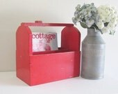 Red Wood Tote Box - Vintage Wedding Theme- Country Cottage Farmhouse Decor