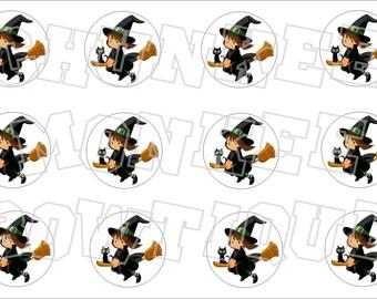 Halloween little witch bottlecap image sheet