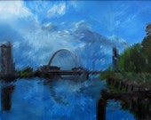 Glasgow Squinty Bridge Signed And Titled Mounted Print