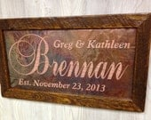 Personalized Wedding Gift, Custom Name sign, 7th anniversary gift, Unique Wedding Gift, Last name established sign, personalized name sign