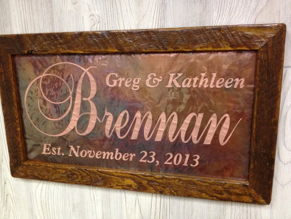 Gifts For 7th Wedding Anniversary: Personalized Wedding Gift Custom Name Sign 7th Anniversary