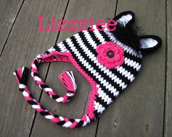 Pattern Zebra Hat Crochet PDF -beanie, earflap, braids - newborn baby toddler kids teen adult sizes - Instant Digital Download