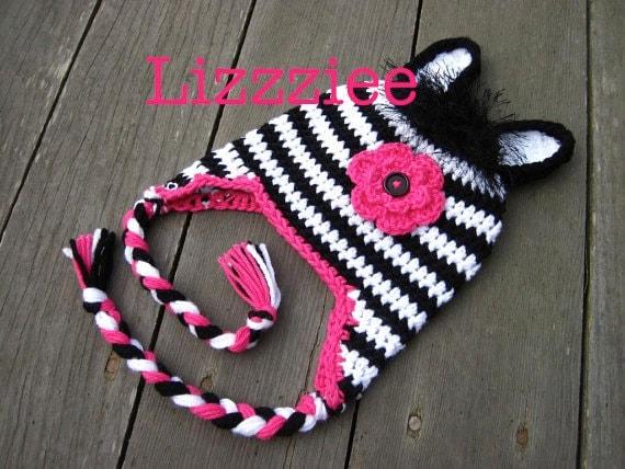 Crochet Baby Zebra Hat Pattern : Pattern Zebra Hat Crochet PDF beanie earflap braids