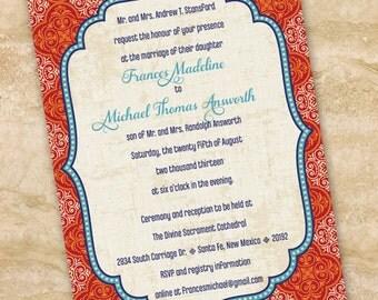 wedding invitations, Moroccan wedding invitations, indigo and rust bridal shower invitations, indigo graduation invitations IN208