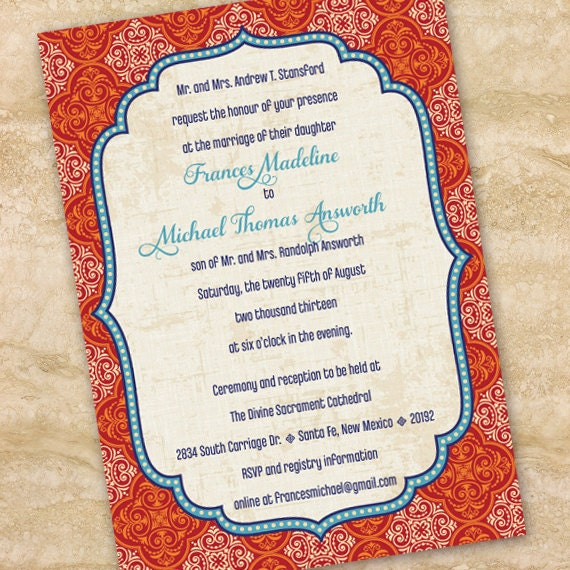wedding invitations, Moroccan wedding invitations, indigo and rust bridal shower invitations, indigo graduation invitations IN208