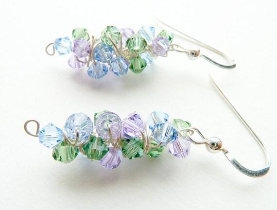 Romantic Earrings Blue, Purple, Green Sterling Silver