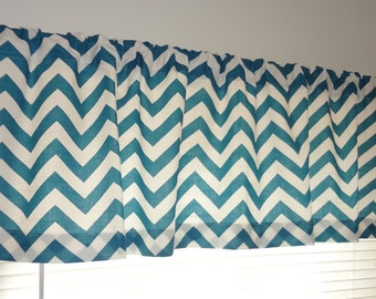 SALE Curtain Valance Topper Window Treatment 52x15 Teal Blue & White Zig Zag Chevron Valance