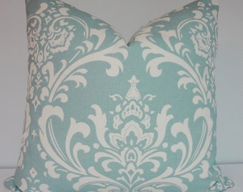 OVERSTOCK SALE Village Blue/Off White Damask Pillow Cover Decorative Throw Pillow 16x16 Ready to ship