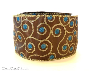 "Christmas Wired Ribbon, 2 1/2"", Chocolate Brown, Turquoise Blue, Glitter Gold Metallic - TEN YARD ROLL -  ""Jeweled Swirl Turquoise"""