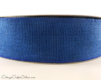 "CLEARANCE! Burlap Wired Ribbon, 2 1/2"" Royal Blue Natural Jute, TEN YARDS Roll - Morex  Wire Edged Ribbon"